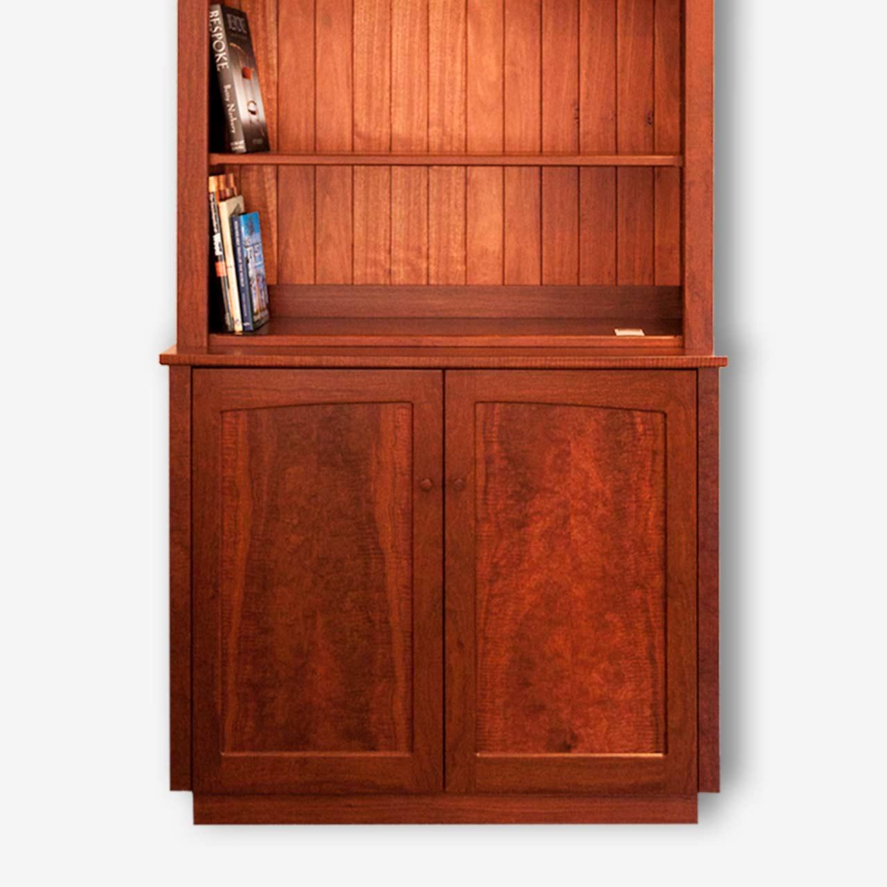 Hutch Two Door Jarrah Cabinet With Open Shelves