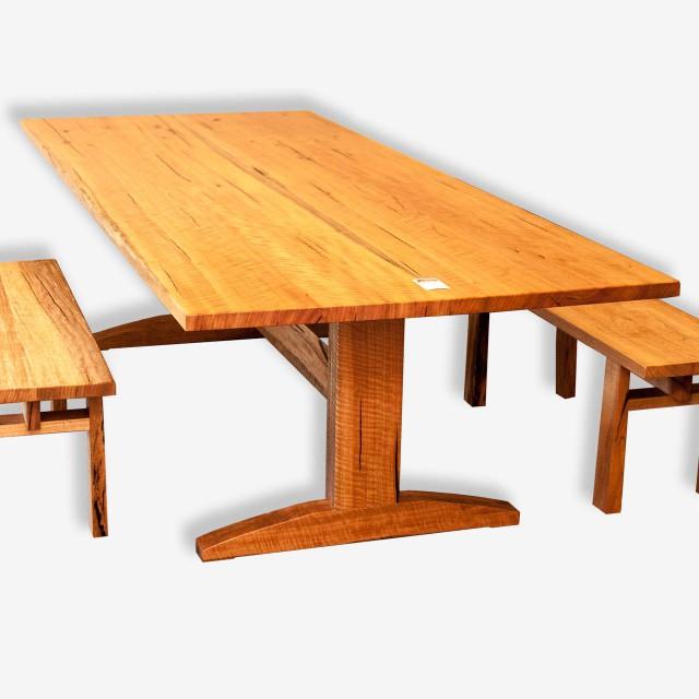 Trestle Dining Table in Marri Treeton Fine Wood Studio : trestle marri dining table cowaramup busselton margaret river perth1 640x640 from treetonfinewoodstudio.com.au size 640 x 640 jpeg 54kB